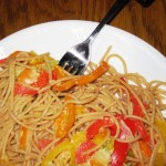 Linguine with Red Peppers, Green Onions, and Pine Nuts
