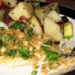 Flounder Oreganata and Pesto Potatoes with Zucchini