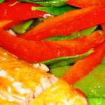 Red Curry-Roasted Salmon with a Pepper and Snow Pea Salad on Buttered Lime Rice