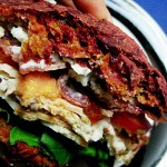 Grilled Turkey, Bacon, Arugula, and Blue Cheese Sandwiches on Red Beet Buns