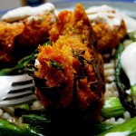 Baked Sweet Potato Falafel with Tahini-Yogurt Sauce over Asparagus and Barley