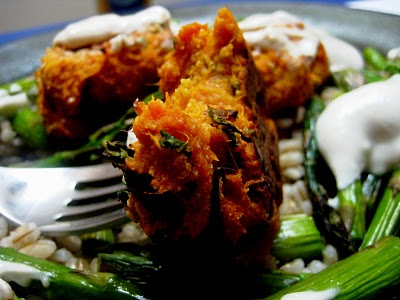 Baked Sweet Potato Falafel with Tahini-Yogurt Sauce over Asparagus and ...