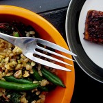 Bittman's Coconut Rice with Swiss Chard, String Beans and Pistachios and Baked Tofu with Soy and Sesame