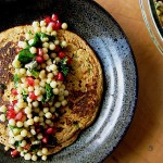 Bittman's Spiced Red Lentil Pancakes with Pomegranate and Blue Cheese Couscous