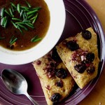 Bittman's Roasted Garlic Soup with Cherry Black Pepper Focaccia