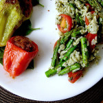 Pesto Rice Salad and Spicy Stuffed Peppers