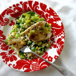 Slash-and-Burn Flounder with Barley Succotash Salad