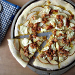 Apple, Sausage, and Brie Pizza on a Pumpkin Pizza Dough Crust