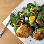 Symon's Crab Tater Tots on a Roasted Butternut Squash Salad with Warm Cider Vinaigrette