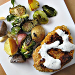 "Pork Schnitzel with a Roasted Potato and Brussel Sprout ""Salad"""