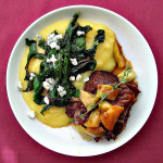 Braised Short Ribs with Pickled Green Tomatoes and Polenta with Blue Cheese and Garlicky Chard