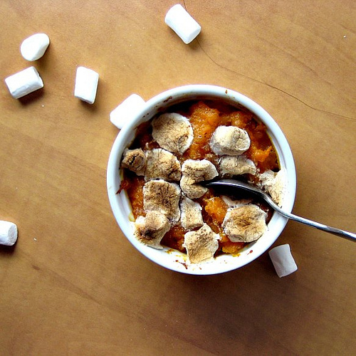 smashed sweet potatoes and butternut squash with five spice marshmallows
