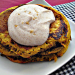 Spiced Pumpkin Pancakes Topped with Cinnamon Maple Greek Yogurt and a Hint of Ginger Salt