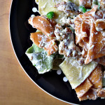 Pappardelle with Smashed Peas, Sausage, and Ricotta