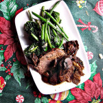 Standing Rib Roast with Porcini and Bacon Sauce; Spicy Parmesan Green Beans and Kale