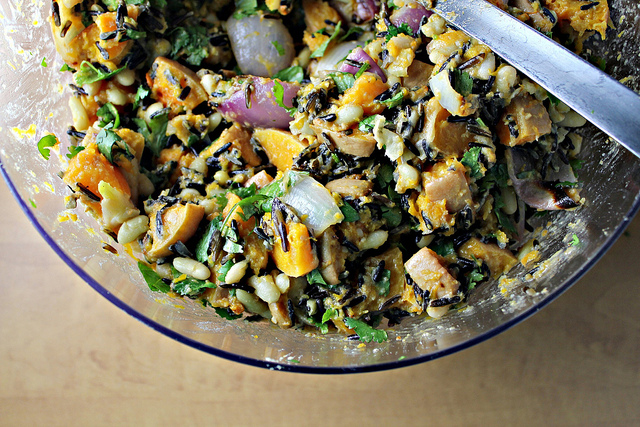 roasted pumpkin, wild rice and white bean salad