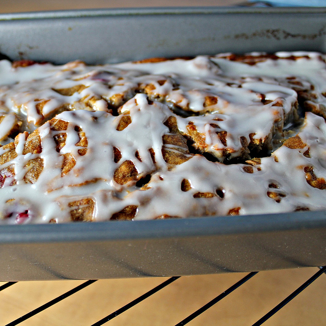 banana cranberry bread with an amaretto glaze