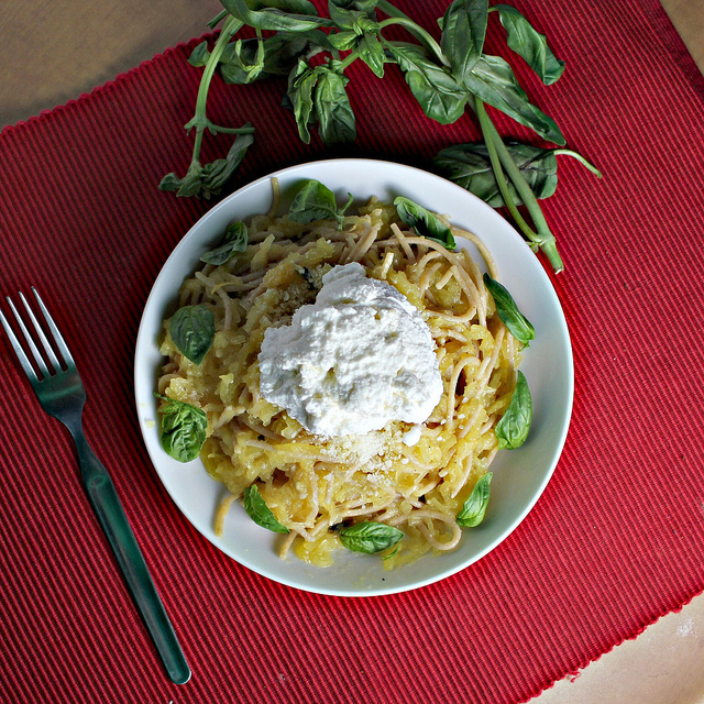 Spaghetti and Spaghetti Squash with Lemon Garlic Sauce and Ricotta ...