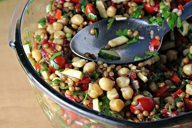 back on track wheat berries and chickpea salad