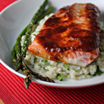 Roast Salmon with Sweet Chipotle Glaze and Hominy Puree