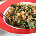 Indian-Spiced Chickpeas with Rhubarb and Spinach