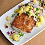Coconut Macadamia Nut-Crusted Mahimahi with Tropical Salsa