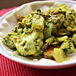 Tofu (or Chicken) in Green Chile, Mint and Cilantro Sauce with Sweet Potatoes and Cauliflower
