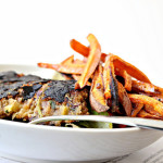 black bean and plantain burgers with honey lime chipotle sweet potato fries