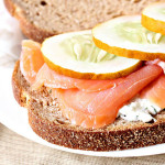 smoked salmon and ricotta dill sandwich with cucumbers