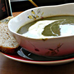 Swiss Chard, Potato and Sorrel Soup with Creme Fraiche