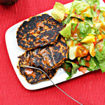 "Thai Curried Zucchini Fritters with a Spicy Peanut Sauce, Mango Bell Pepper Salad…and Sweet Potato Fries for Alexia Foods ""Reinvent a Classic"" Challenge!"
