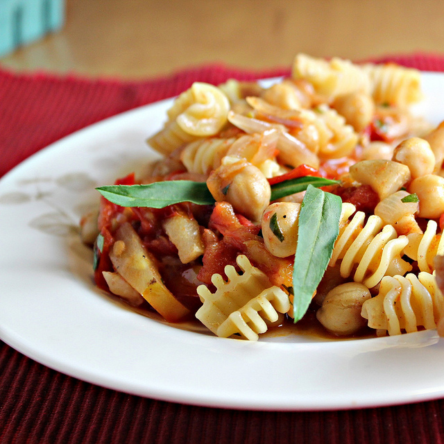 ... with Zucchini, Yellow Wax Beans, and Harissa Heirloom Tomato Sauce