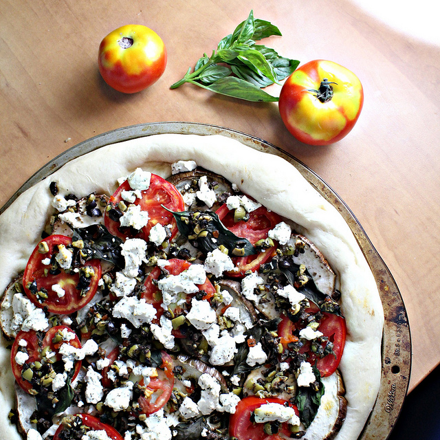 roasted eggplant, tomato and tapenade pizza with goat cheese