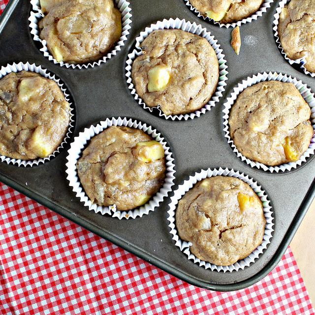 vegan mango banana muffins with crystallized ginger