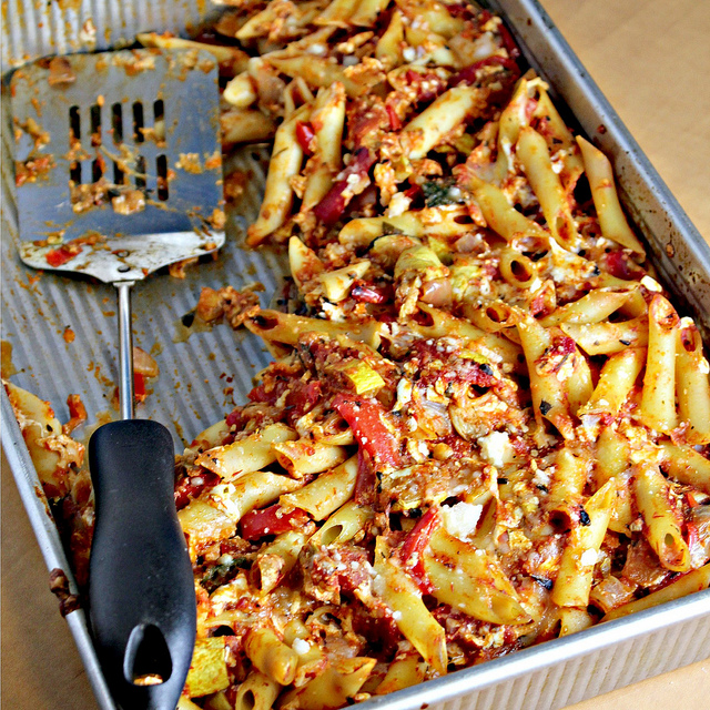 Penne With Oven Roasted Eggplant, Goats Cheese And Mint Recipes ...