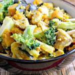 Maple-Miso Glazed Tofu with Broccoli and Winter Squash
