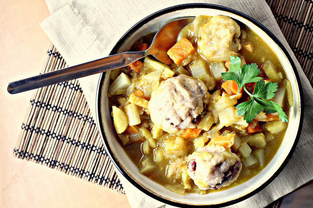 curried root vegetable stew with dumplings