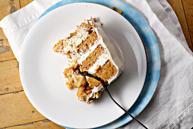sweet potato and ginger layer cake with toasted marshmallow filling and brown sugar cinnamon swiss meringue buttercream