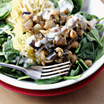 Eggplant and Chickpea Salad with Moroccan Spaghetti Squash and Feta Dressing