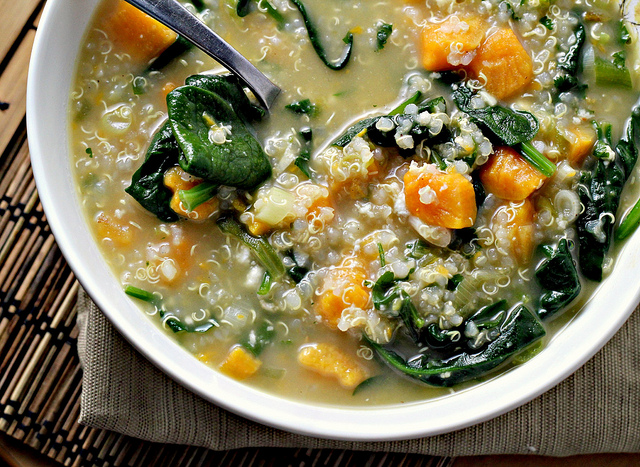 quinoa chowder with sweet potatoes, spinach feta and scallions