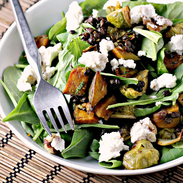 spicy squash salad with lentils, brussels sprouts and goat cheese