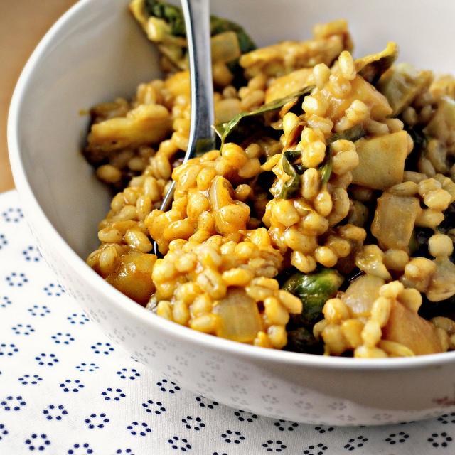 barley risotto with roasted brussels sprouts, apples and champagne honey mustard