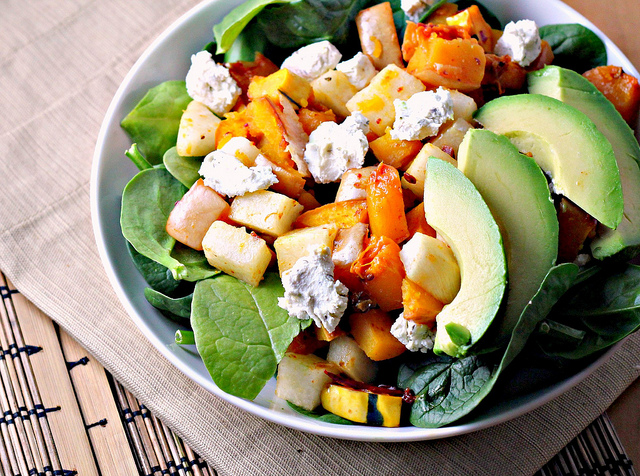 chipotle squash salad with jicama, citrus and avocado