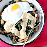 Breakfast Bowl with Za'atar Roasted Eggplant, Swiss Chard, Butternut Squash and Hummus {food matters project}