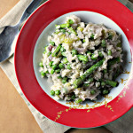 Asparagus and Green Pea Risotto with Fresh Herb Tarka {eat.live.be.}
