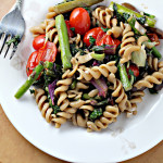 Roasted Asparagus and Tomato Pasta Salad with Goat Cheese {eat.live.be.}