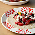 Black Bean and Feta Tacos with Strawberry Mango Salsa {the food matters project}