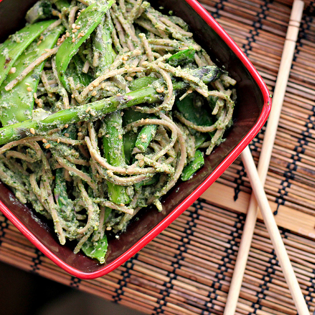 coriander and nori pesto soba with wok seared greens