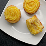 Vanilla Buttermilk Cupcakes with Mango Ginger Curd Filling