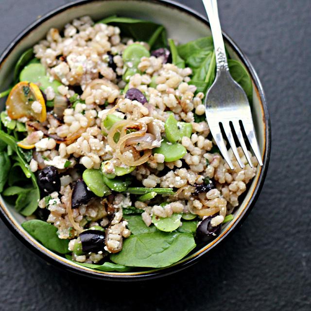 warm fava shallot barley salad